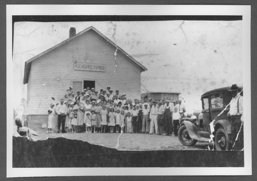 Scenes of Sherman County, Kansas - A group in front of the Gospel Hall.