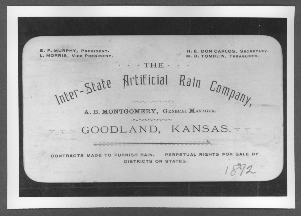 Scenes of Sherman County, Kansas - Interstate Artificial Rain Company business card.