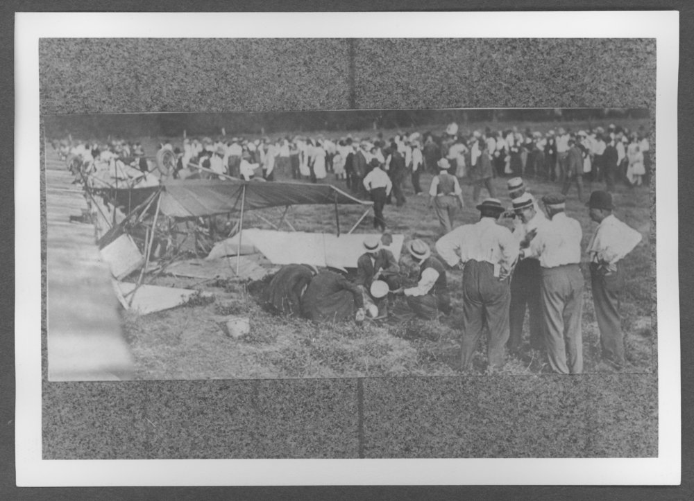 Scenes of Sherman County, Kansas - An early Curtiss biplane accident.