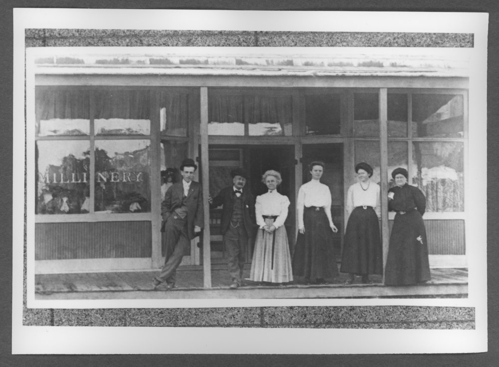 Scenes of Sherman County, Kansas - The Mallinery Store with three Seaman sisters pictured in the middle.