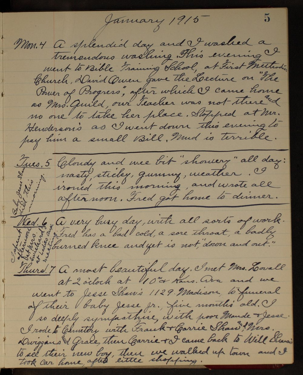 Martha Farnsworth diary - [page 5]