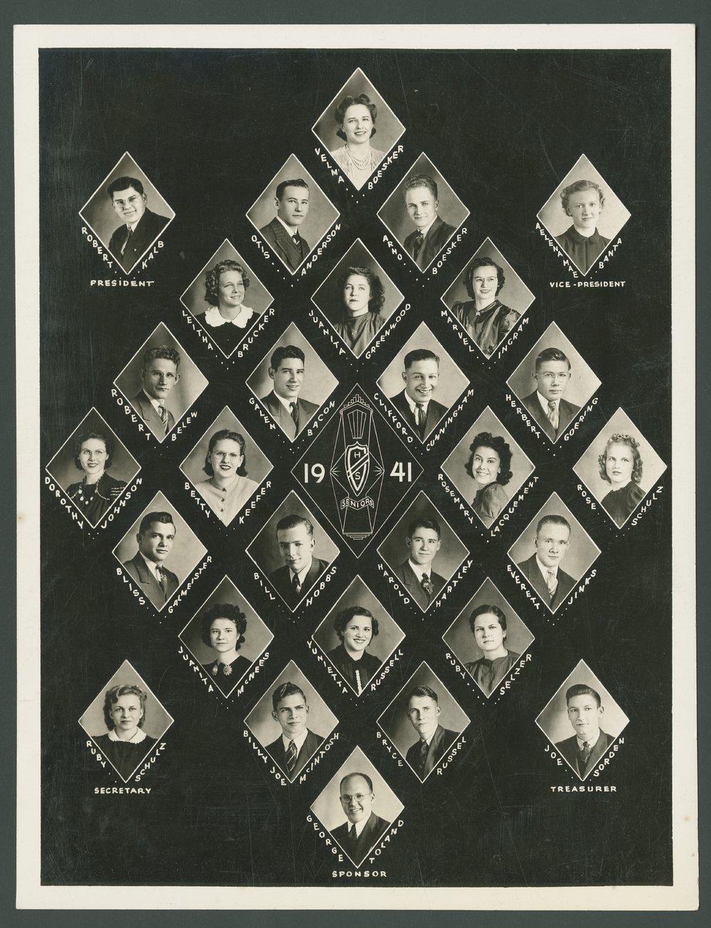 1941 Canton High School senior class in Canton, Kansas