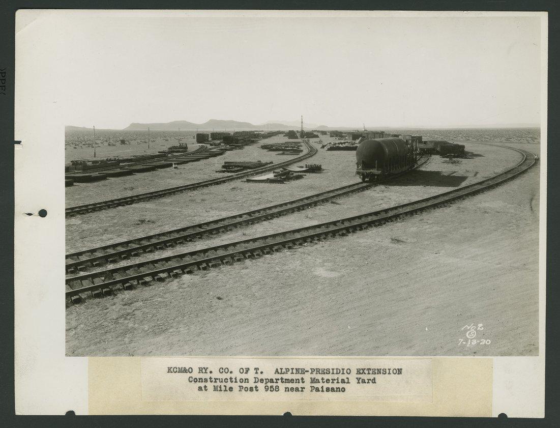 Kansas City, Mexico & Orient Railroad's construction yard, Paisano, Texas