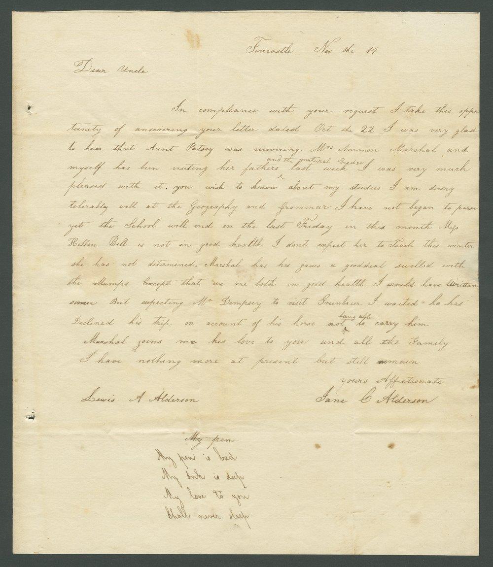 Jane C. Alderson to Lewis Allen Alderson - 1