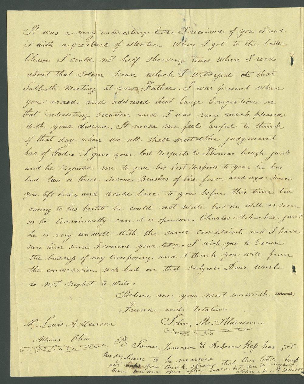 John M. Alderson to Lewis Allen Alderson - 7