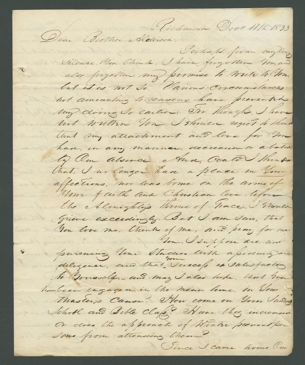 L. W. Allen to Lewis Allen Alderson - 1