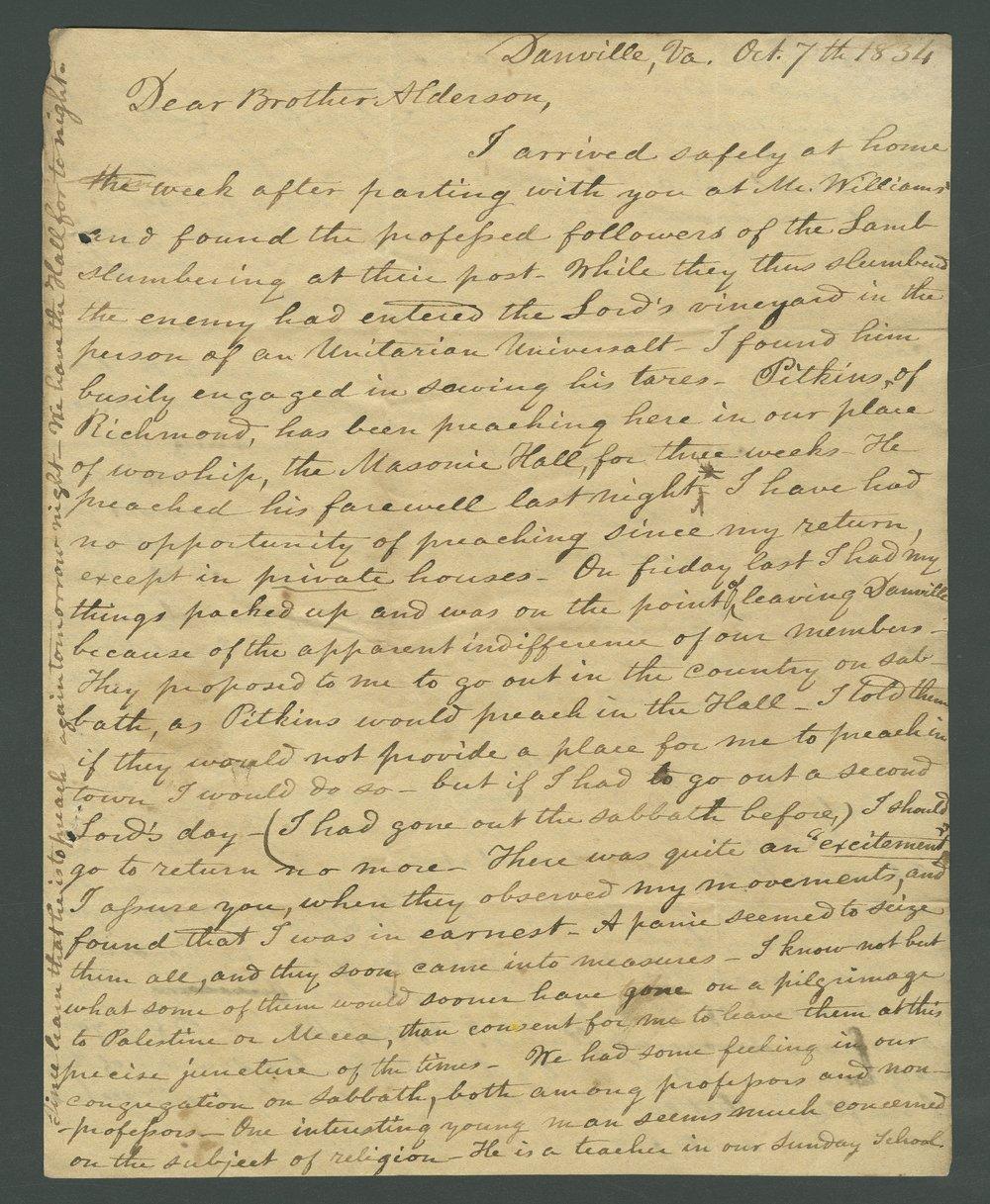 Joseph L. Baker to Lewis Allen Alderson - 1