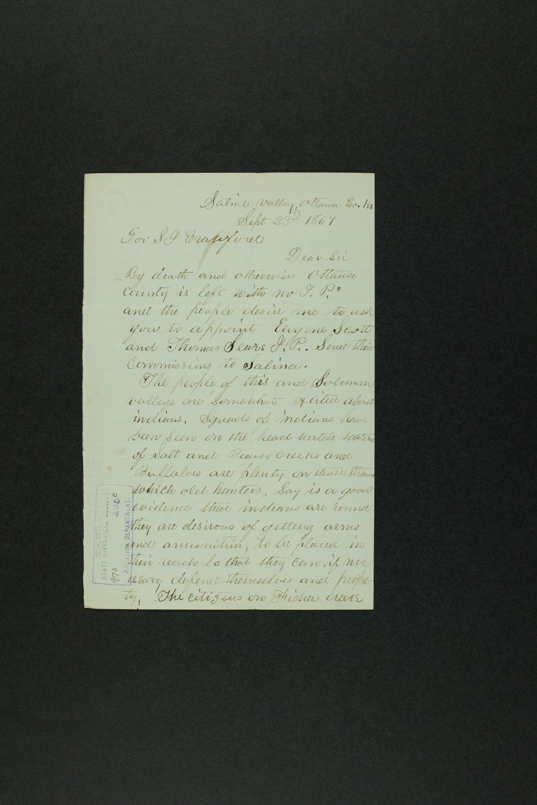 Governor Crawford Indian correspondence - 2