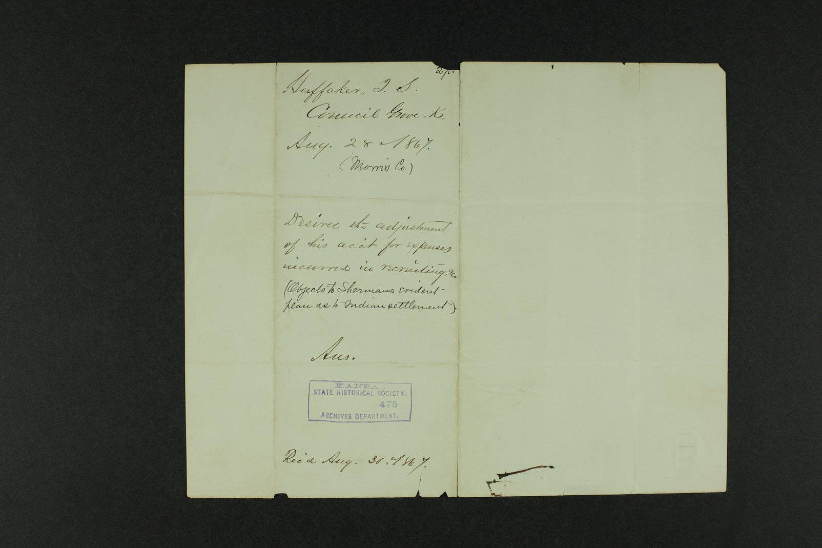 Governor Crawford Indian correspondence - 8