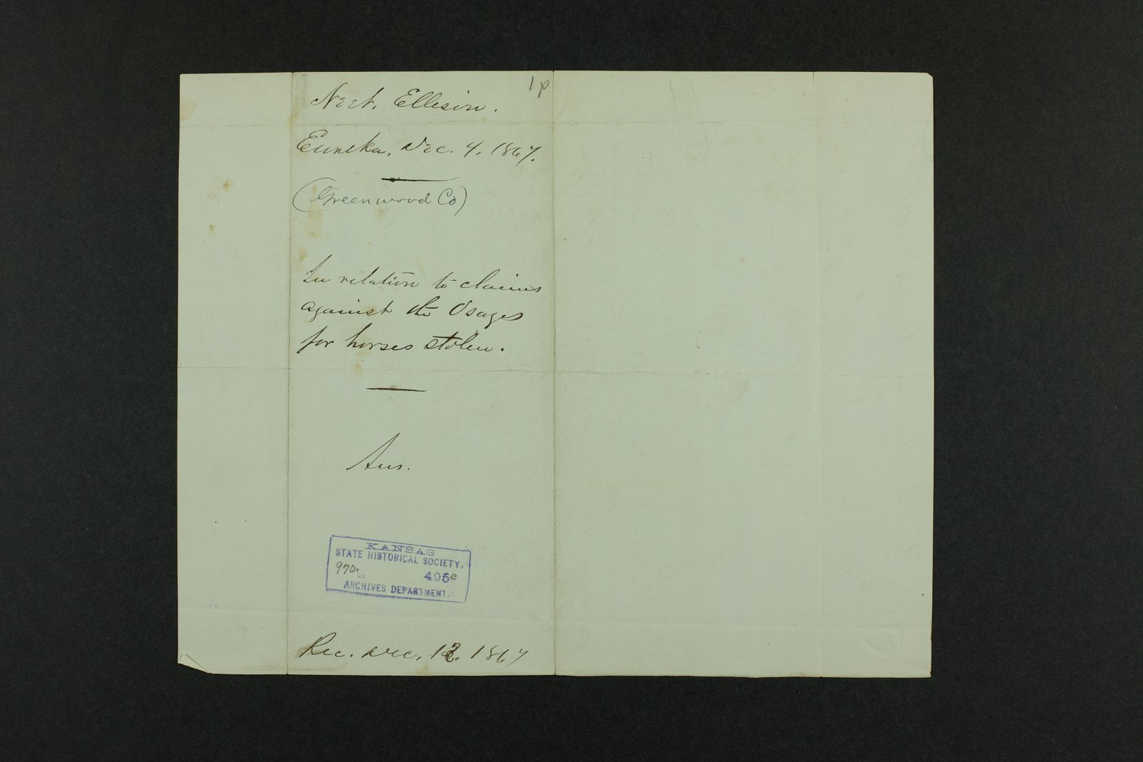 Governor Crawford Indian correspondence - 10