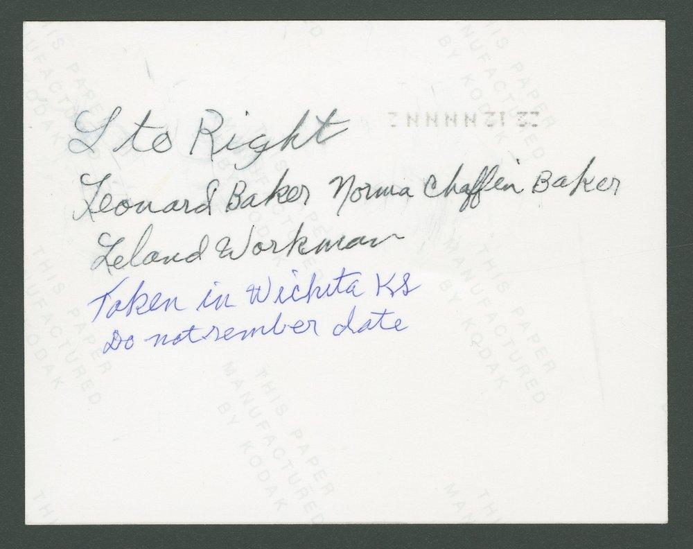 Leonard Baker, Norma Chaffin Baker, and Leland Workman - 2