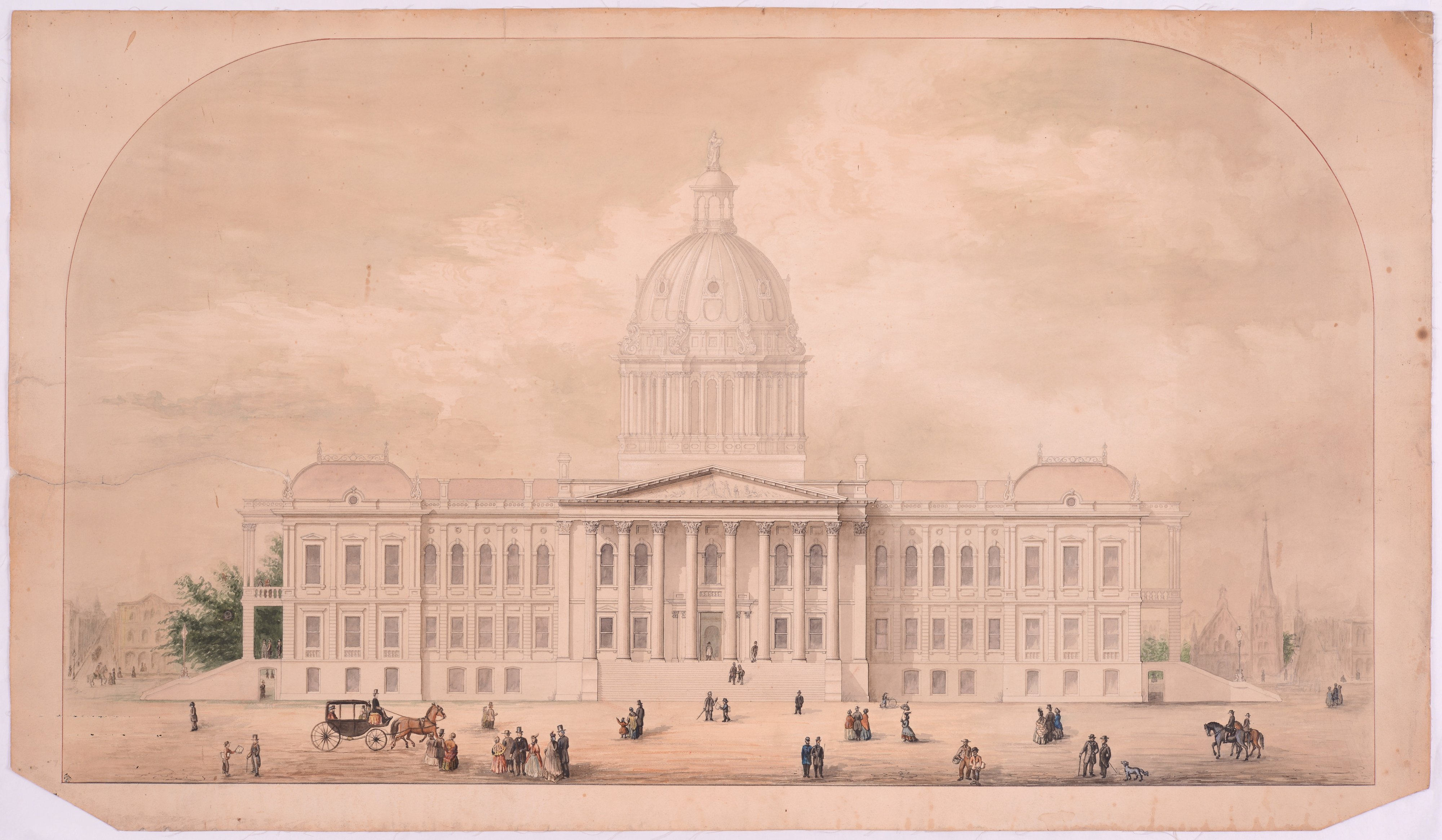 Original drawing for Kansas Capitol Building, Topeka, Kansas