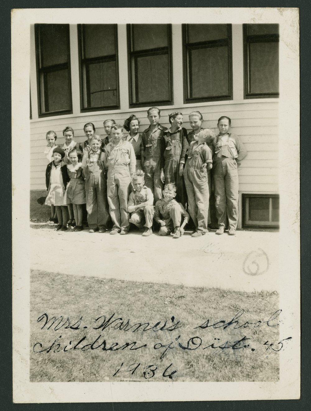 School children at Cloud County rural school District 45 - 1