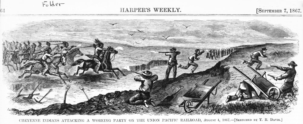 Image result for Cheyenne Indians attacking a working party on the Union Pacific Railroad