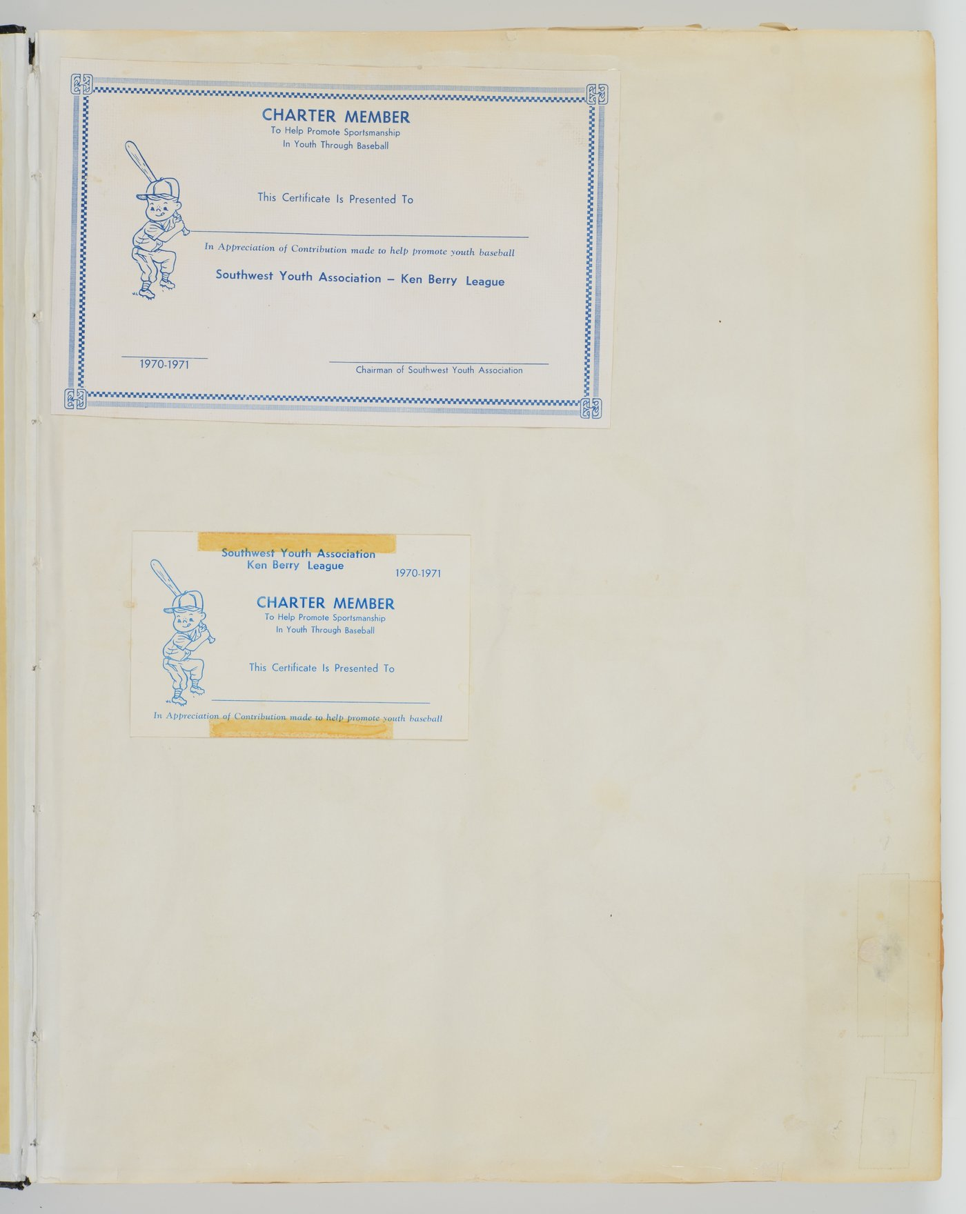Ken Berry Baseball League and Southwest Youth Athletic Association, Inc. scrapbook - Soutwest Youth Association, (1970-1971)