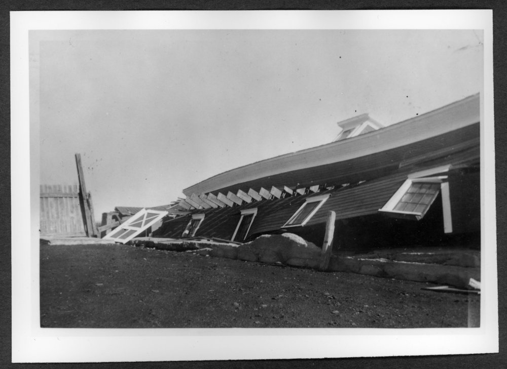 Scenes of Sherman County, Kansas - John L. Veselik barn destroyed by tornado, July 6, 1952.