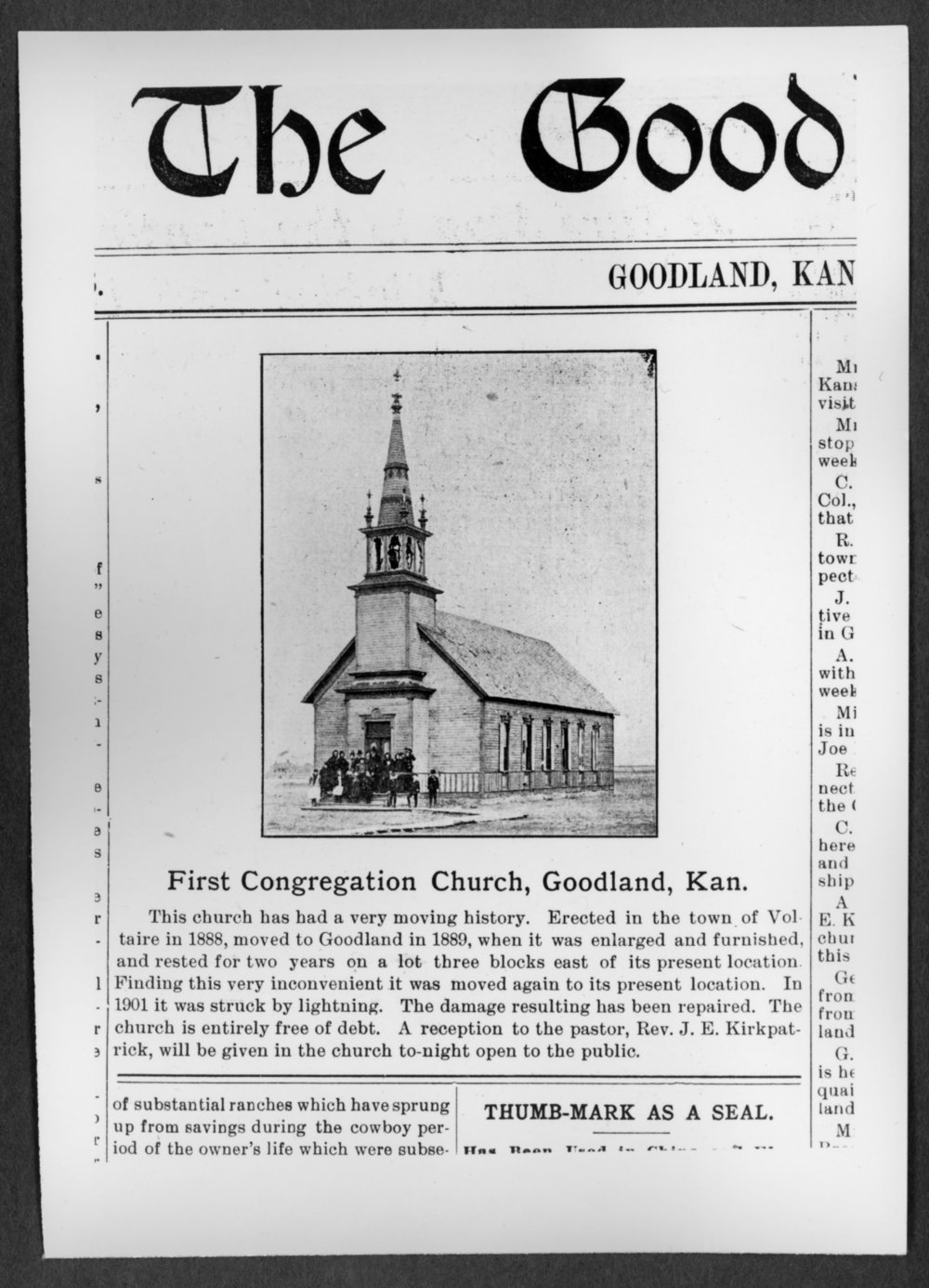 Scenes of Sherman County, Kansas - A photograph of the First Congregational Church in Goodland, Kansas, from the Goodland Republic, February 7, 1902.