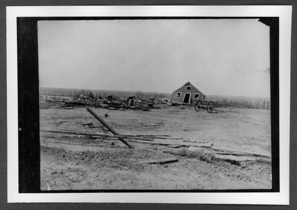 Scenes of Sherman County, Kansas - James A. Horney farm after tornado, 1904.