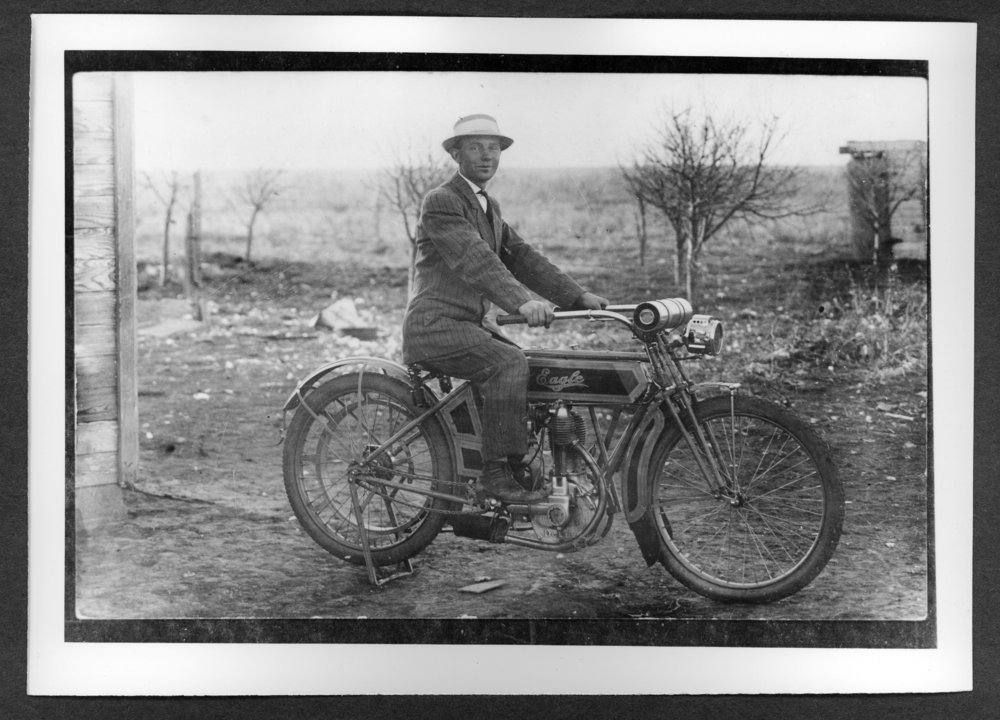 Scenes of Sherman County, Kansas - Seth Duell on his single cylinder Eagle, Ruleton, Kansas, 1913.