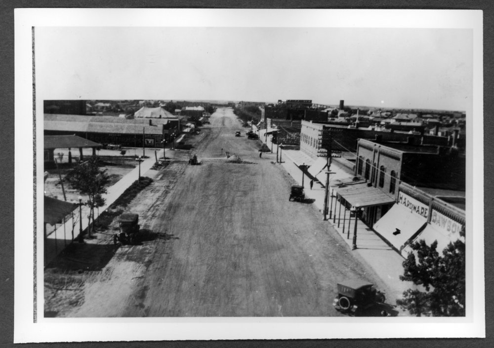 Scenes of Sherman County, Kansas - A street scene looking south from 11th and Main in Goodland, Kansas, about 1920.