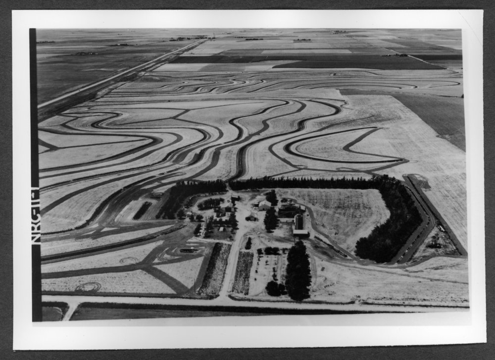 Scenes of Sherman County, Kansas - Aerial view of the Gerald Parker farm, Edson, Kansas, 1965.