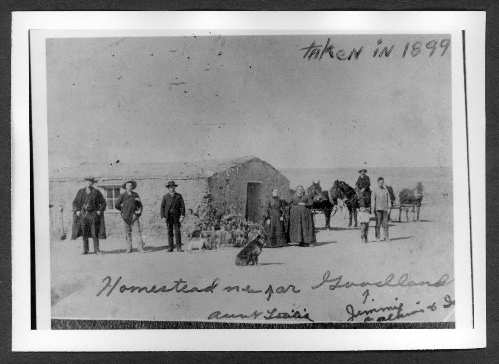 Scenes of Sherman County, Kansas - Israel Calkin's sod house, 1899.