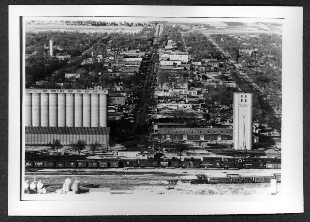 Scenes of Sherman County, Kansas - Aerial view of Goodland, Kansas, 1970's.