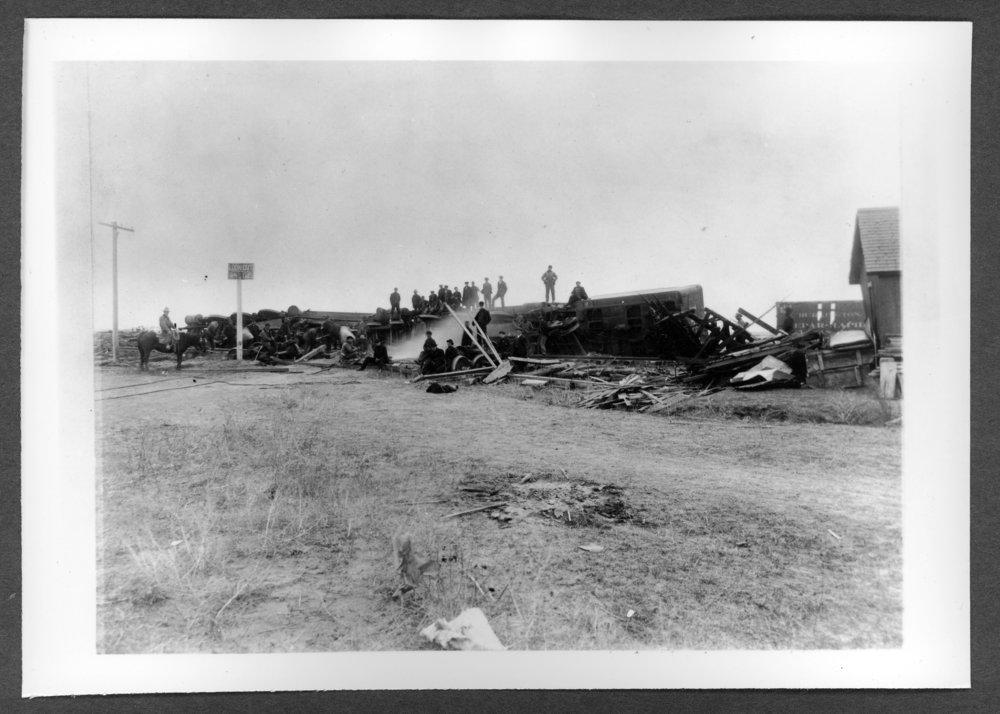 Scenes of Sherman County, Kansas - Wreck at Kanorado, 1905