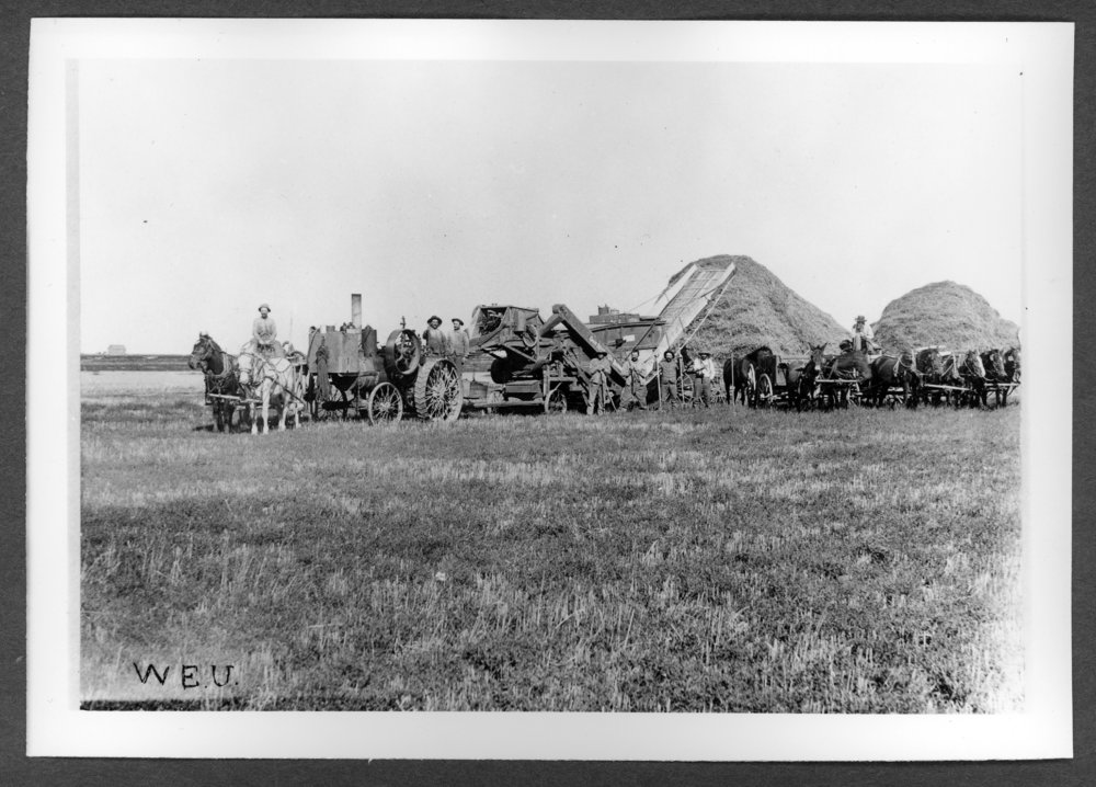 Scenes of Sherman County, Kansas - J.C. Gernhart and threshing crew