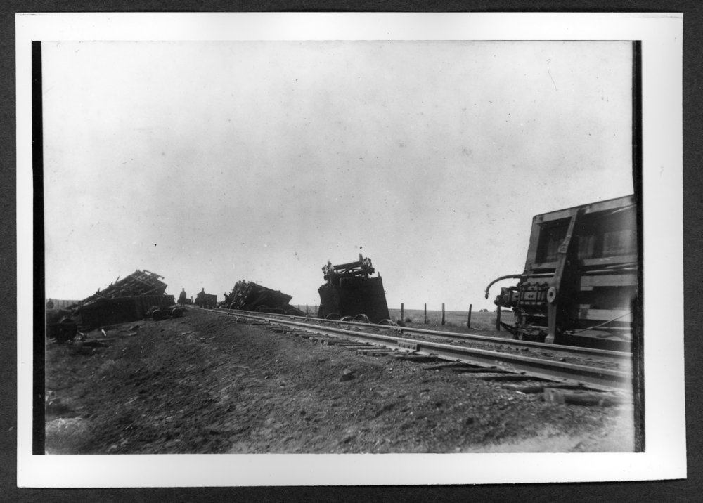 Scenes of Sherman County, Kansas - Railroad wreck at Edson, Kansas sometime before 1910.