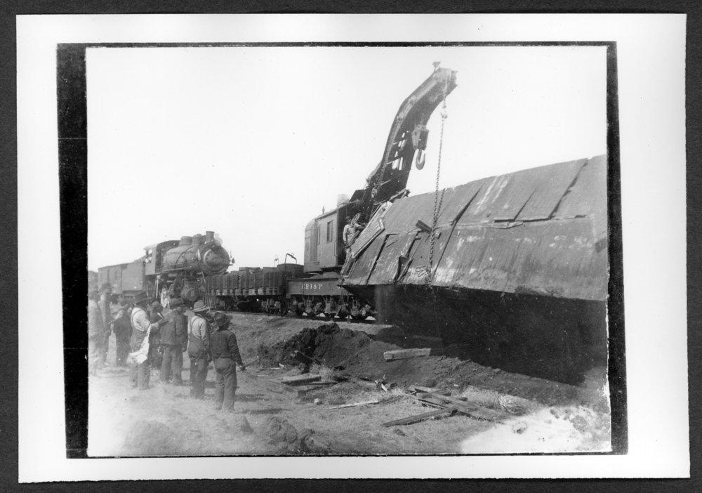 Scenes of Sherman County, Kansas - Railroad wreck at Edson, Kansas sometime before 1910.