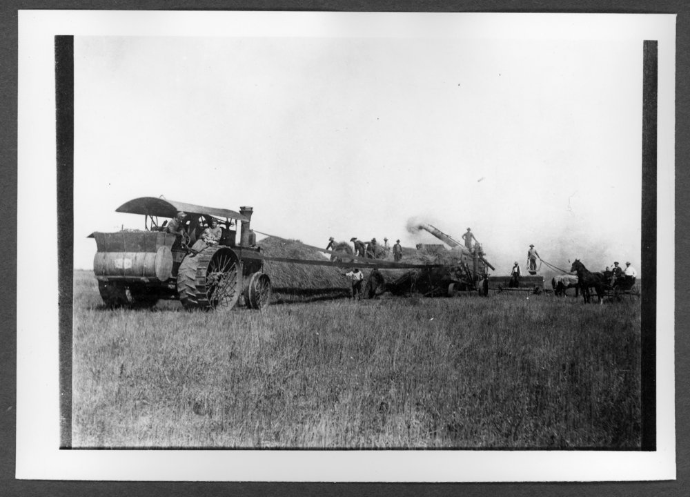 Scenes of Sherman County, Kansas - William Waeber and threshing outfit, 1909.