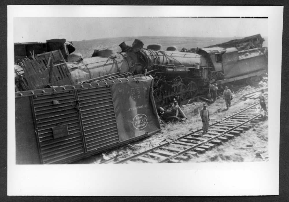 Scenes of Sherman County, Kansas - Train wreck at Jennings, Kansas, September 28, 1930.  Fatalities were Frank Hill and Roy Lasley.