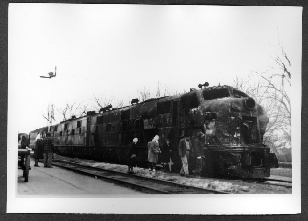 Scenes of Sherman County, Kansas - Rock Island Rocket #7, after it hit an oil truck and burned, December 23, 1947.