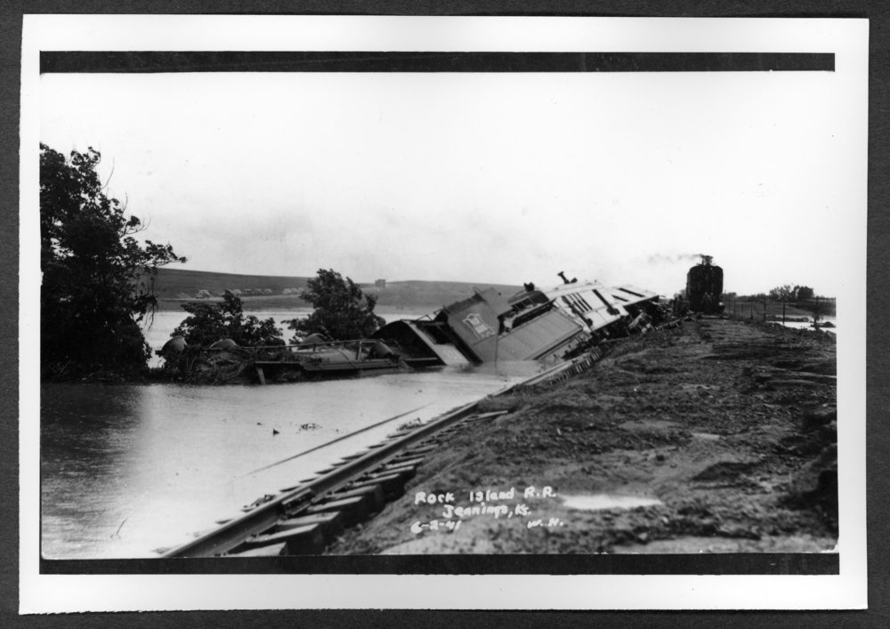 Scenes of Sherman County, Kansas - Rock Island train wreck and flooding at Prairie Dog Creek, Jennings, Kansas, June 21, 1941.
