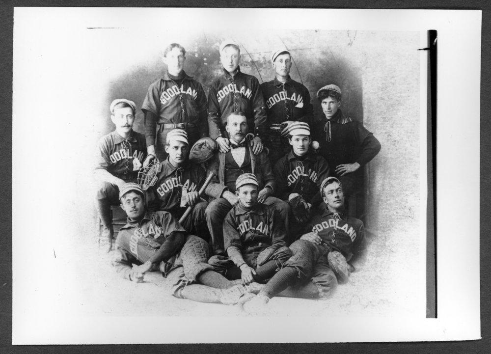 Scenes of Sherman County, Kansas - Baseball team in Goodland, Kansas, 1899.