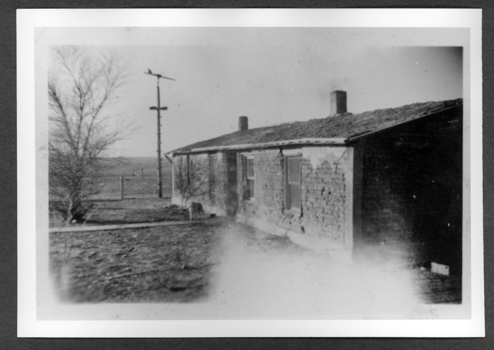Scenes of Sherman County, Kansas - Rudolph Meiner sod house, 1941 or 1942.