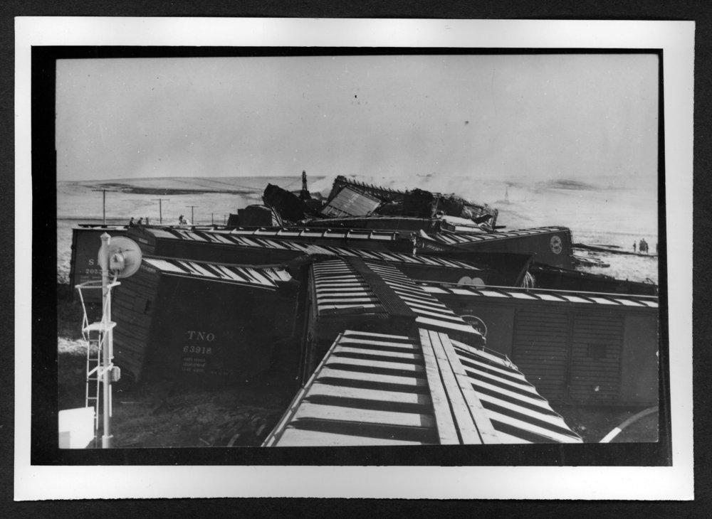 Scenes of Sherman County, Kansas - Railroad wreck, Caruso, Kansas, January 25, 1959.
