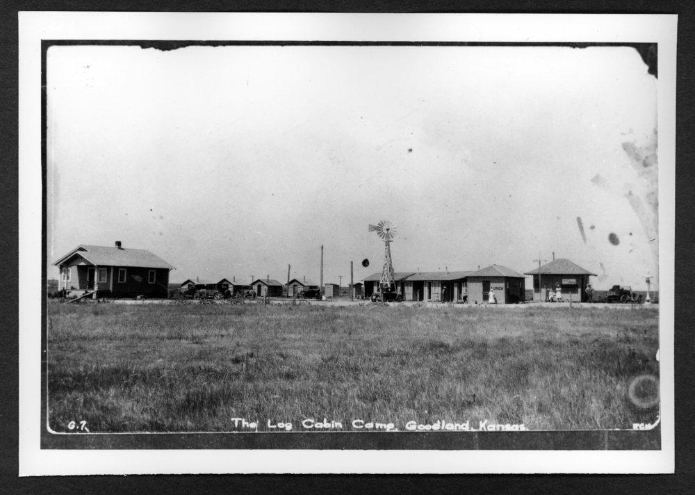 Scenes of Sherman County, Kansas - Log cabin camp in Goodland, Kansas.