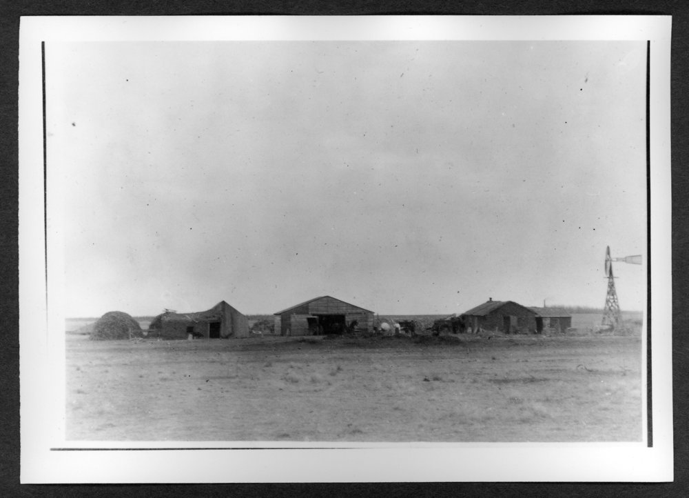 Scenes of Sherman County, Kansas - Fred Schindler's sod house and other buildings.