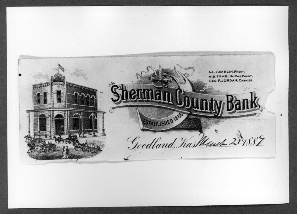 Scenes of Sherman County, Kansas - Stationary of the Sherman County Bank, 1887.