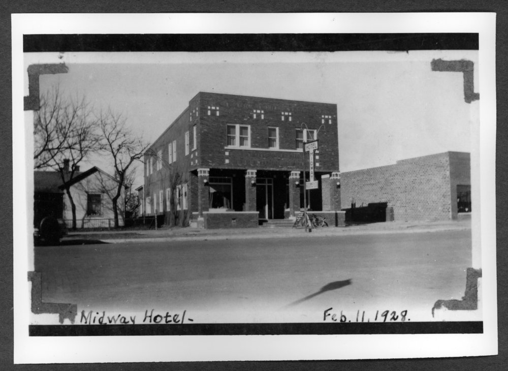 Scenes of Sherman County, Kansas - Midway Hotel at 1522 Main in Goodland, Kansas, February 11, 1928.