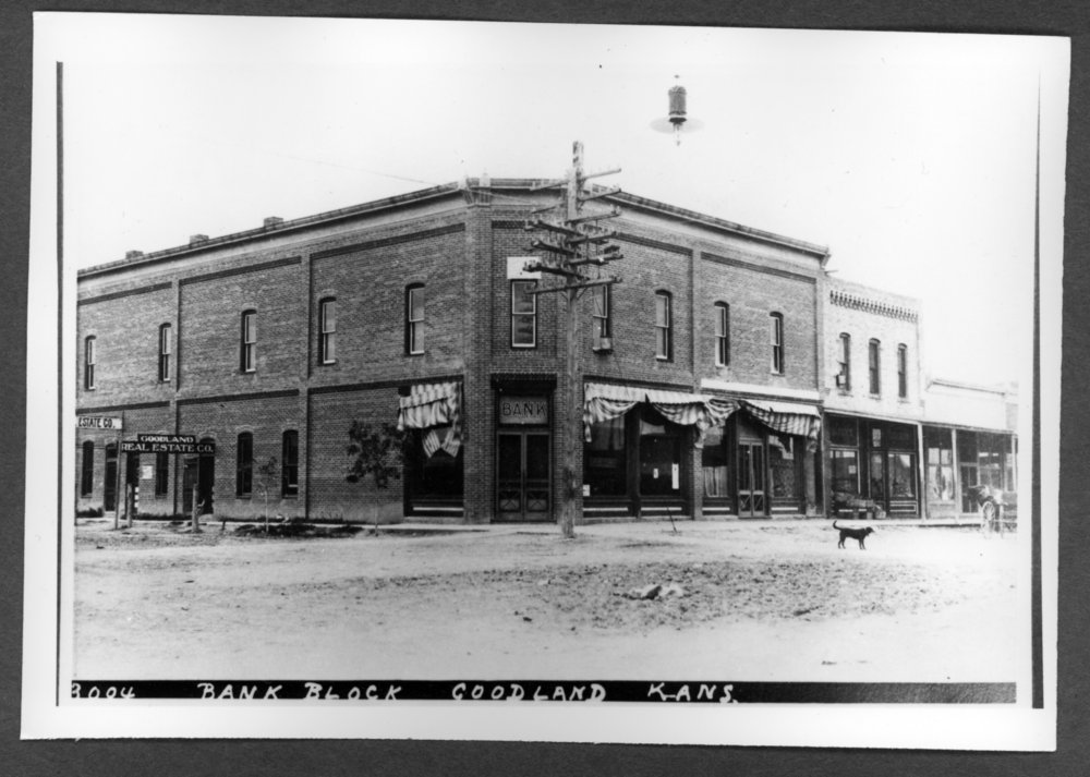Scenes of Sherman County, Kansas - Goodland State Bank, about 1910.