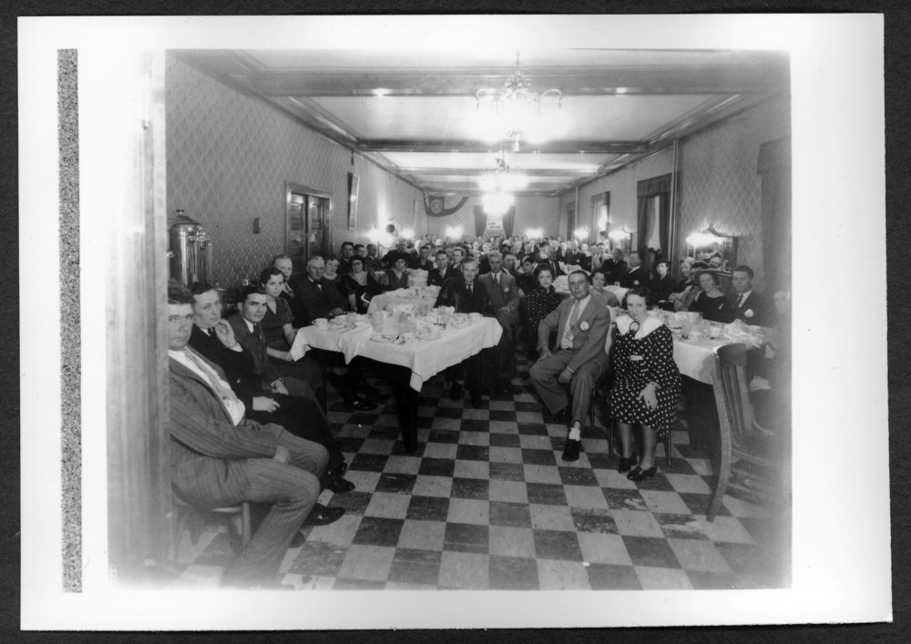 Scenes of Sherman County, Kansas - Dining room at the Neu Hotel with Alf Landon pictured.