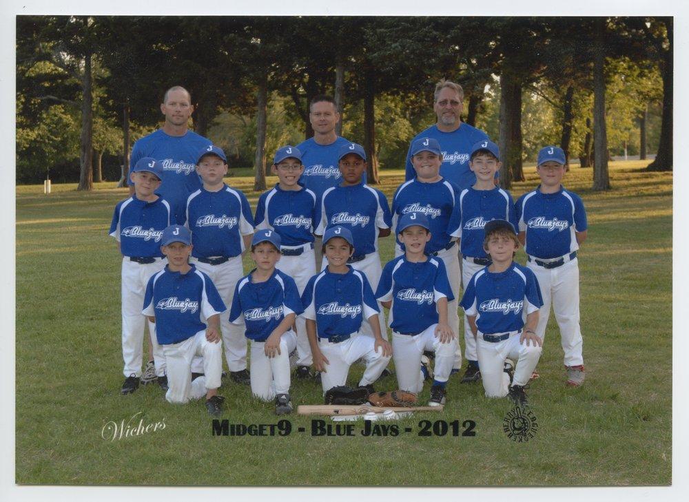 Aidan Ives and the Midget 9 Blue Jays baseball team in Topeka, Kansas - Midget 9 Blue Jays team photo, 2012.