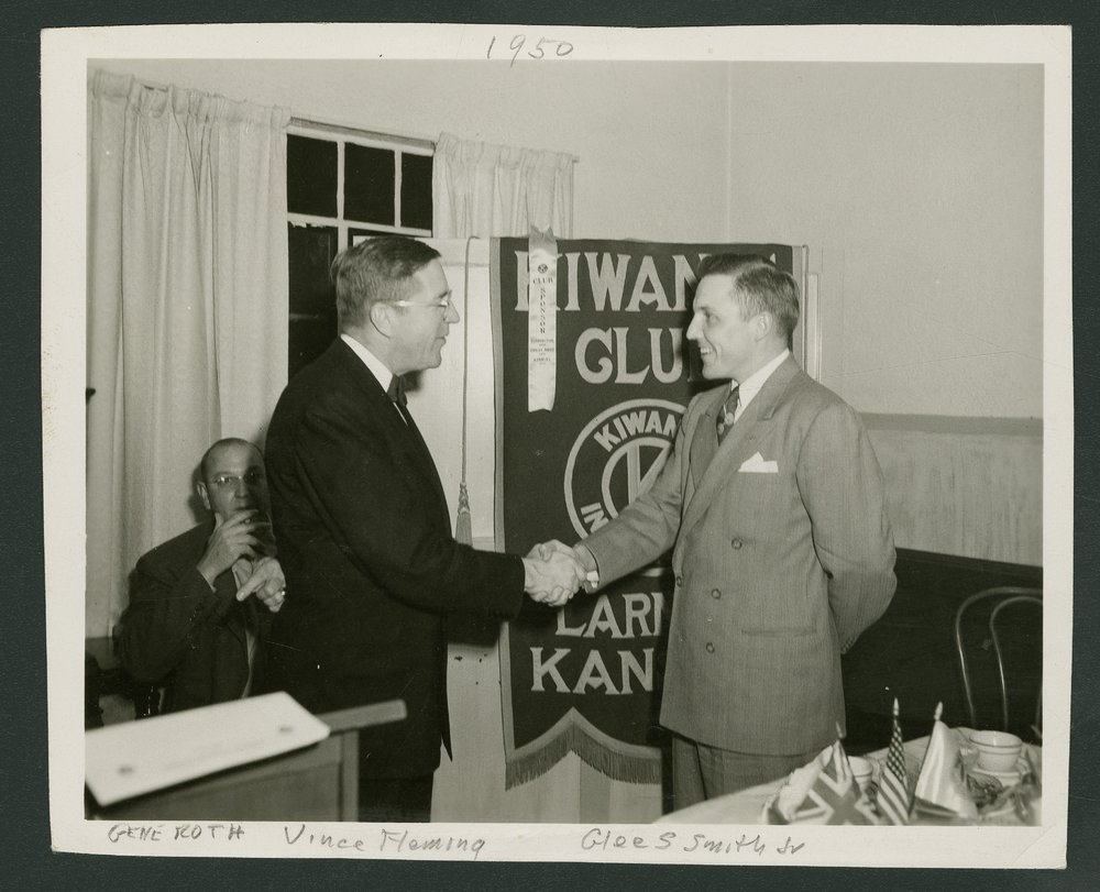 Vince Fleming installing Glee S. Smith, Jr. as president of Kiwanis Club in Larned, Kansas - 1