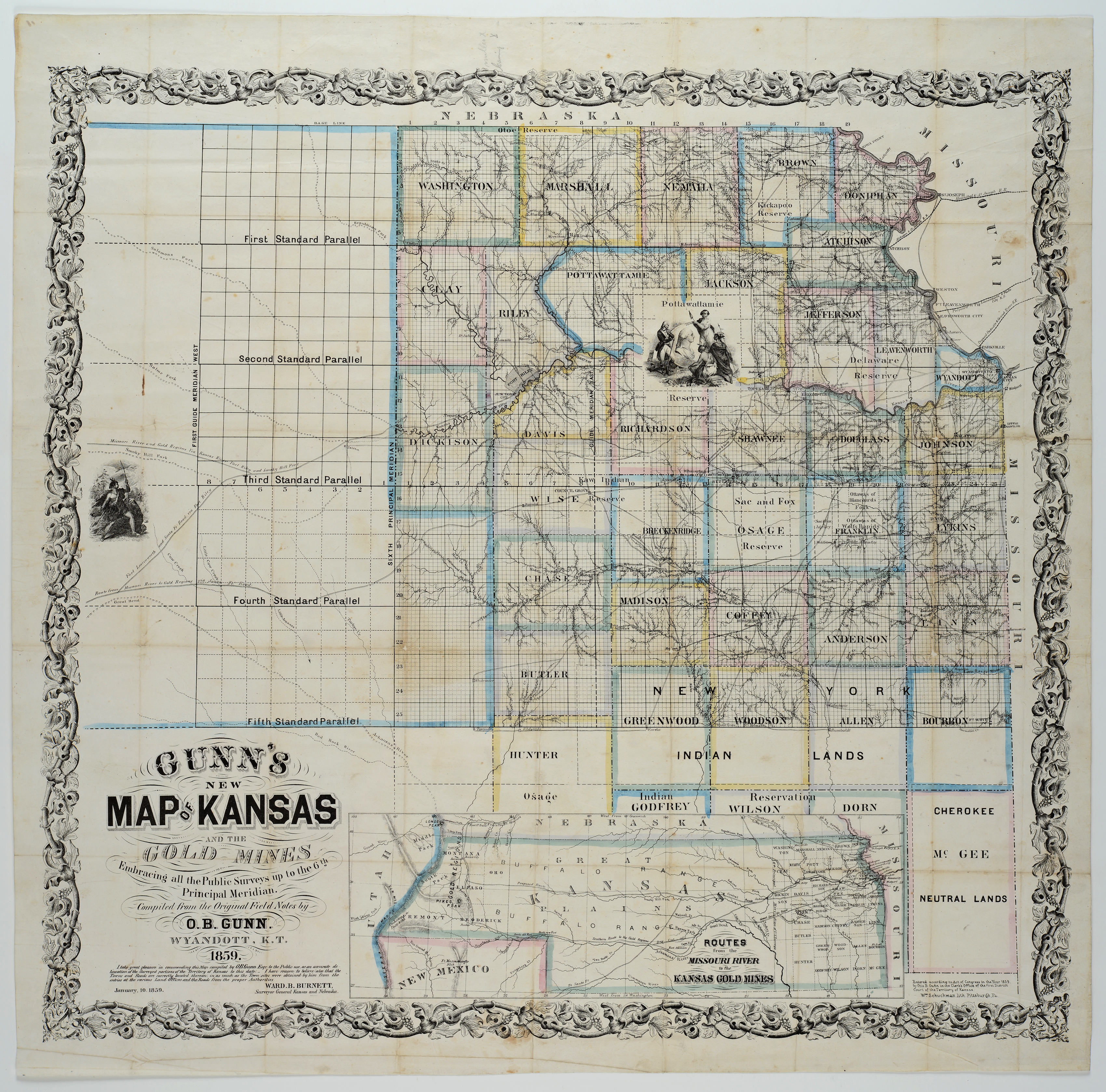 Gunn's New Map of Kansas to the Gold Mines - Kansas Memory ... on road map of kansas, antique map of kansas, large map of kansas, physical map of kansas, radon map of kansas, blank map of kansas,