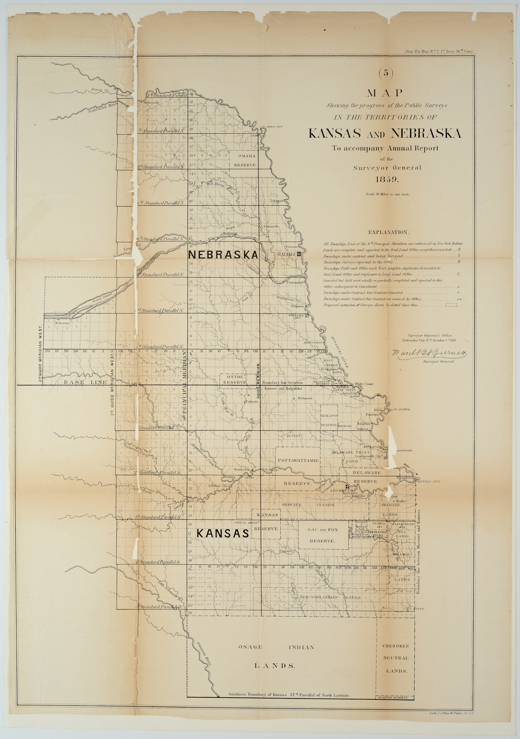 Map showing the progress of the Public Surveys in the Territories of Kansas and Nebraska