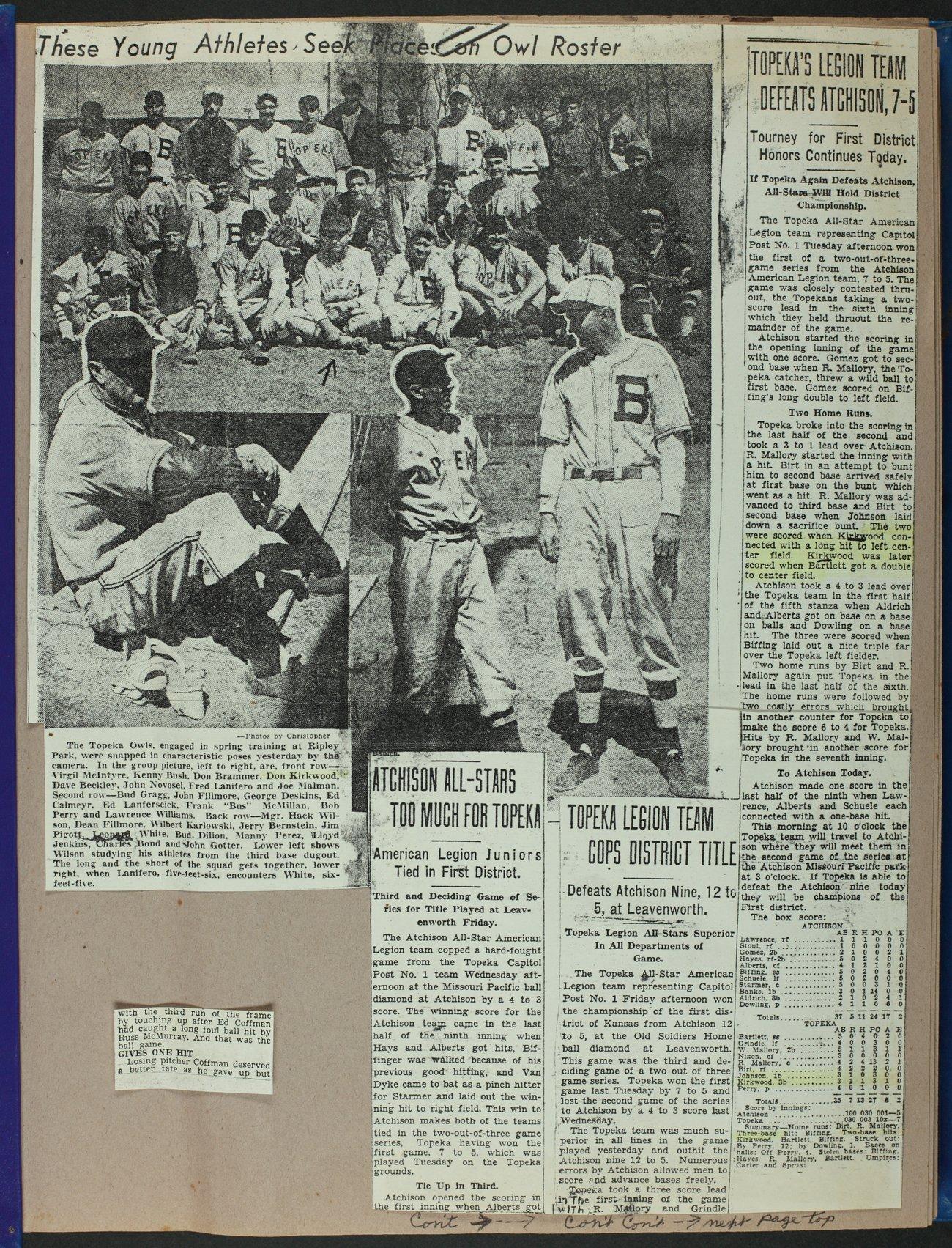 Don Kirkwood baseball scrapbook - 1