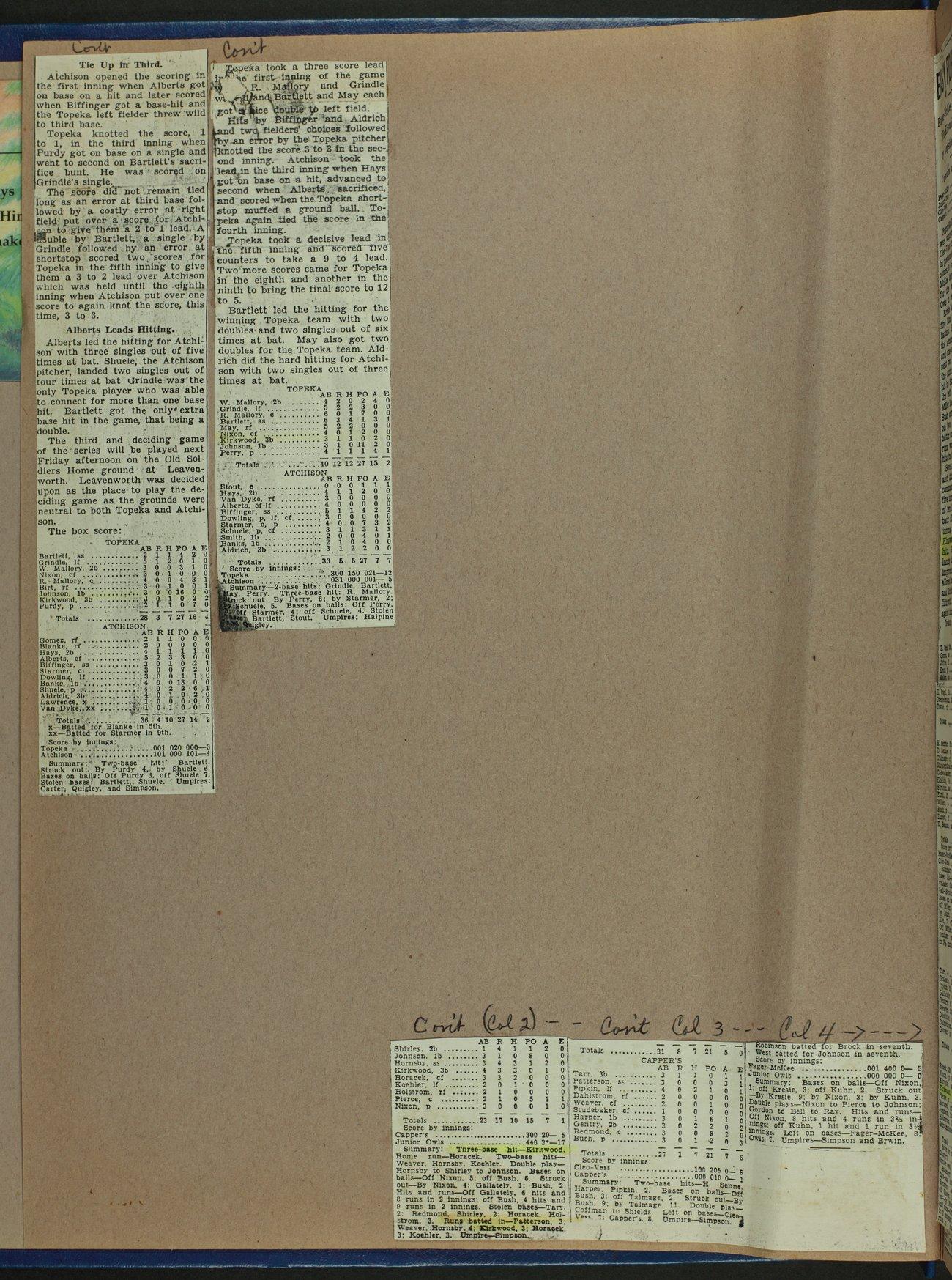 Don Kirkwood baseball scrapbook - 2
